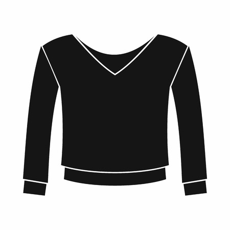 v neck: Womens pullover icon in simple style on a white background Illustration