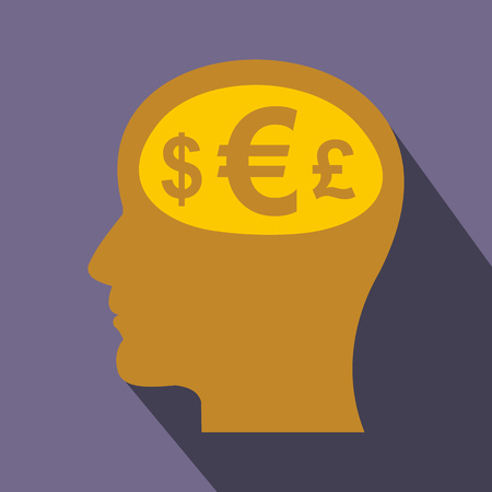 man business oriented: Thoughts about money icon in flat style on a violet background