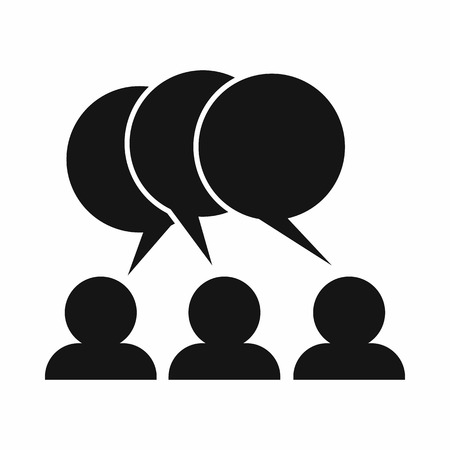 vetor: People with dialog speech bubbles icon in simple style on a white background
