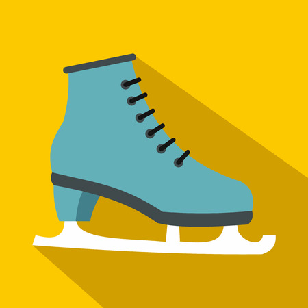 figureskating: Ice skate icon in flat style with long shadows Illustration