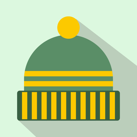 knitten: Winter hat icon in flat style with long shadows