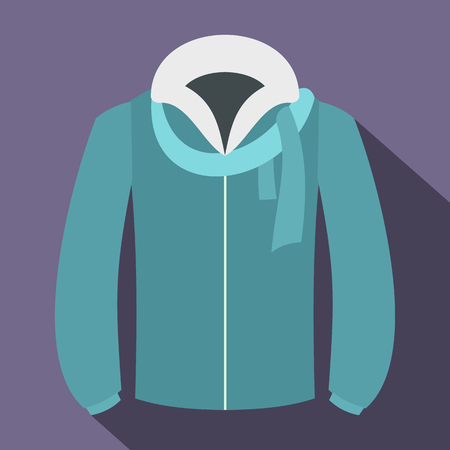 winter jacket: winter jacket icon in flat style with long shadows
