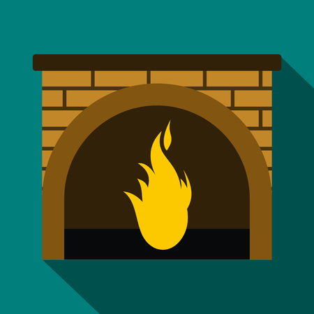 fluted: Christmas fireplace icon in flat style with long shadows Illustration