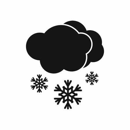 hailstorm: Cloud and snow icon in black simple style isolated on white background Illustration