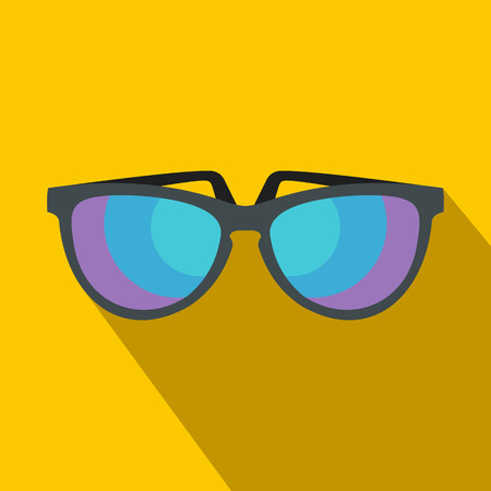 eyewear: Sunglasses icon in flat style with long shadow. Summer and heat symbol