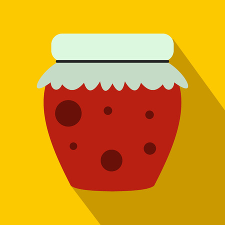 fruity: Jar of fruity jam icon in flat style on a yellow background