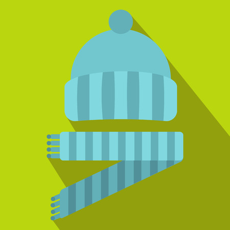 knitten: Blue knitted hat and scarf icon in flat style on a green background