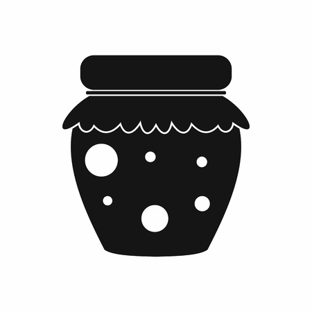 confiture: Jar of fruity jam icon in simple style on a white background Illustration