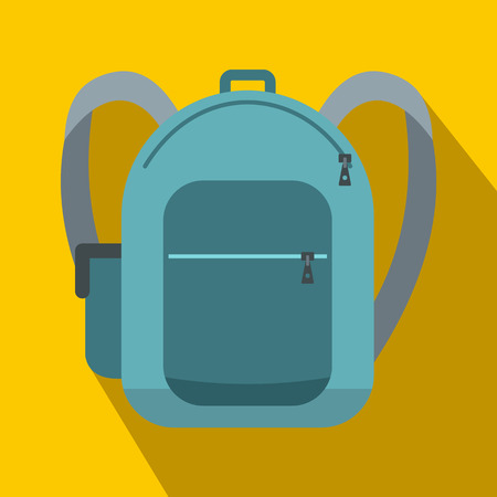 haversack: Blue school bag icon in flat style on a yellow background