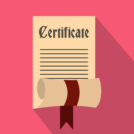 Zertifikat-Symbol im flachen Stil auf einem rosa Hintergrund Vektorgrafik