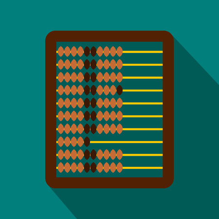 abacus: Abacus icon in flat style on a blue background