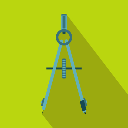 draftsmanship: Compass tool icon in flat style on a green background