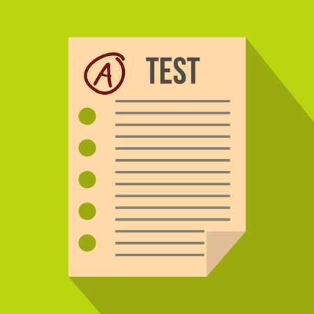 test paper: Test paper icon in flat style on a green background