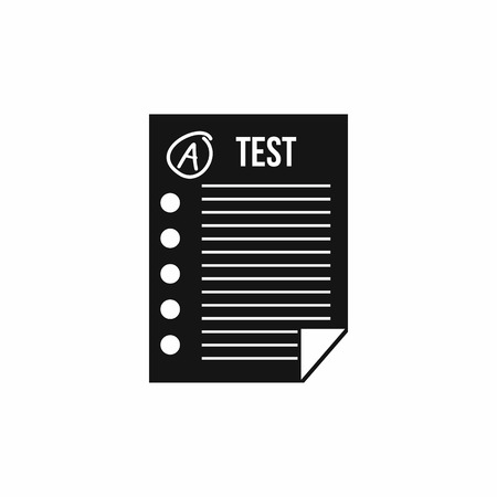 test paper: Test paper icon in simple style on a white background