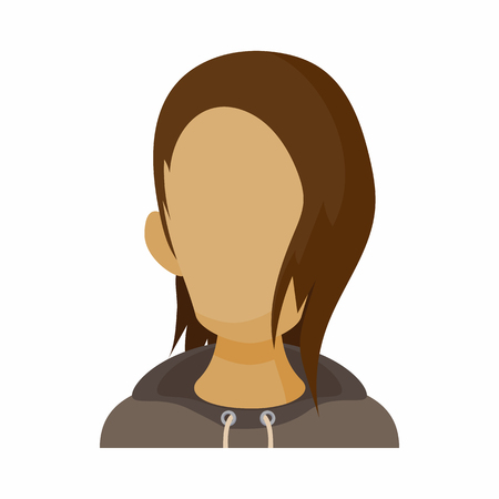boy long hair: Avatar men with long hair icon in cartoon style. Faceless boy isolated on white background