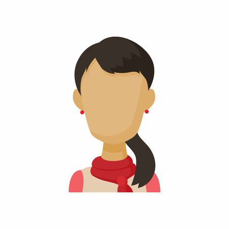 Avatar brunette woman icon in cartoon style. Faceless girl with long hair isolated on white background