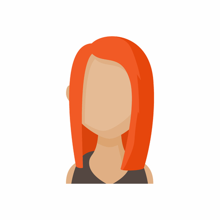 redhead woman: Avatar redhead woman icon in cartoon style. Faceless girl with long hair isolated on white