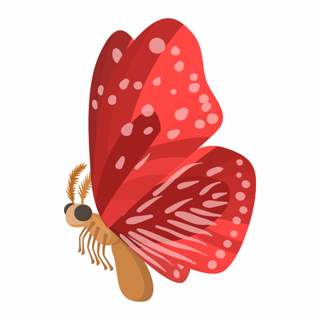 red butterfly: Red butterfly with spots on wings icon in cartoon style isolated on white background