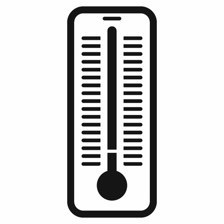 warmth: Outdoor thermometer icon in black simple style isolated on white background