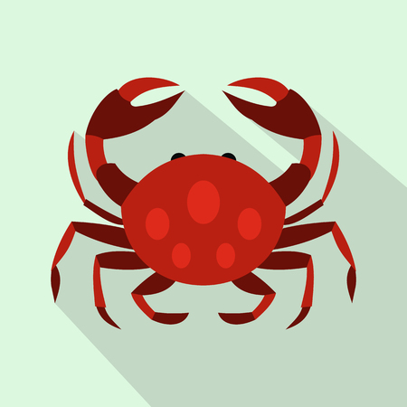 crawling creature: Crab icon in flat style with long shadow. Sea and animals symbol