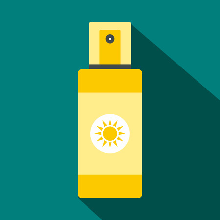 tan: Spray tan icon in flat style with long shadow. Summer and heat symbol Illustration