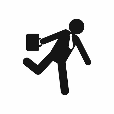 hysterical: Running clerk icon in simple style isolated on white background. Businessman late to work Illustration