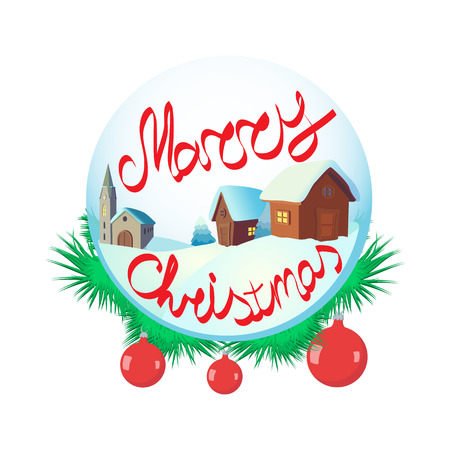 christal: Merry Christmas glass snow ball icon in cartoon style on a white background
