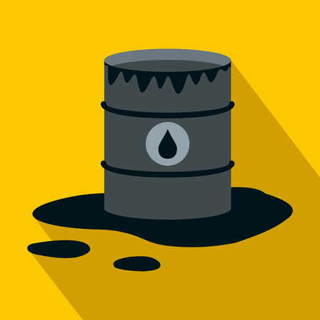 oil spill: Barrel and oil spill icon in flat style on a yellow background