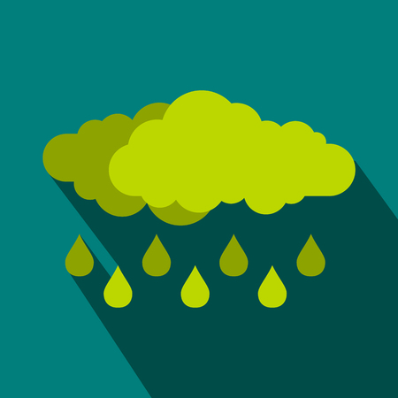 rain drop: Green cloud with rain drop icon in flat style on a blue background Illustration