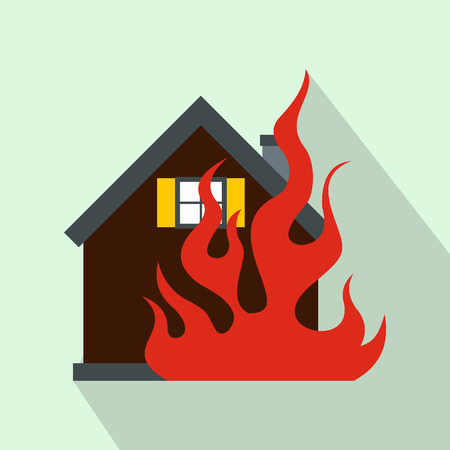 fire symbol: House on fire icon in flat style on a light blue background