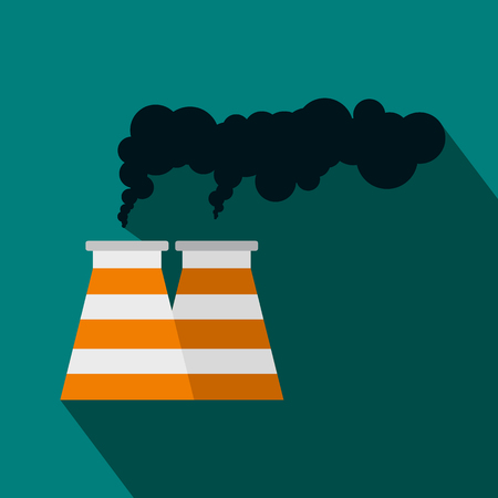 toxic cloud: Smoking pipe icon in flat style on a blue background