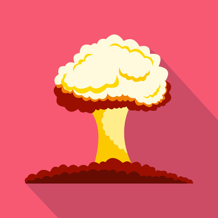 nuclear explosion: Nuclear explosion icon in flat style on a pink background Illustration