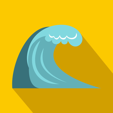 cataclysm: Big wave icon in flat style on a yellow background