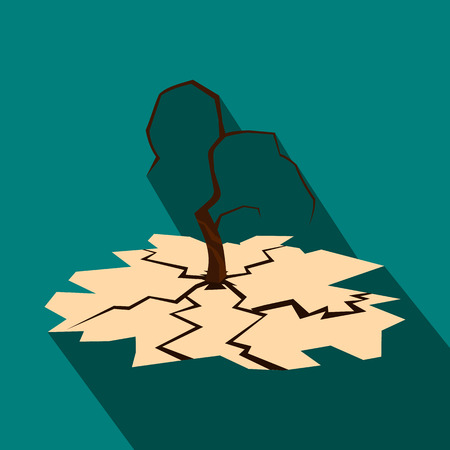 erosion: Drought icon in flat style on a blue background