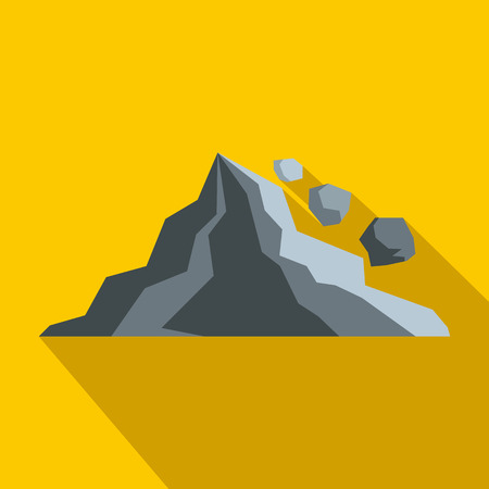 rockfall: Rockfall icon in flat style on a yellow background