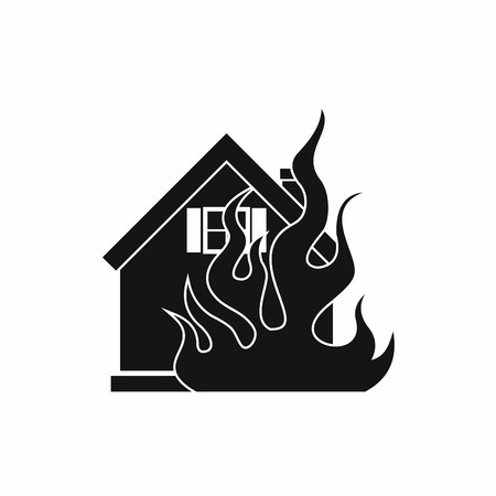 implosion: House on fire icon in simple style on a white background