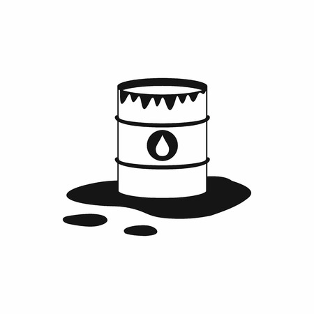 spill: Barrel and oil spill icon icon in simple style on a white background Illustration