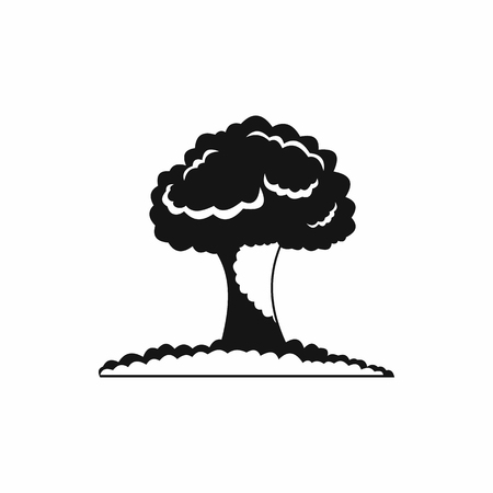 nuke: Nuclear explosion icon in simple style on a white background