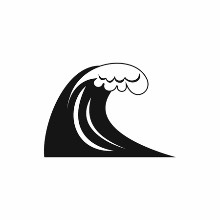 water waves: Big wave icon in simple style on a white background
