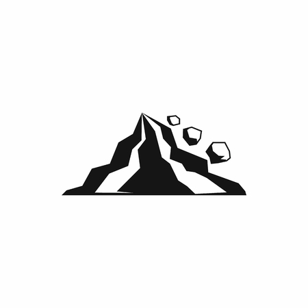 blockage: Rockfall icon in simple style on a white background