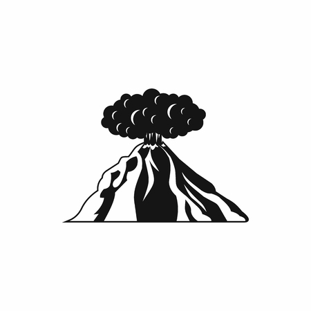 erupting: Volcano erupting icon in simple style on a white background
