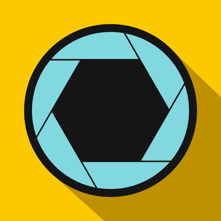 aperture: Camera aperture icon in flat style on a yellow background