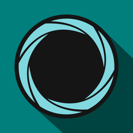 aperture: Camera aperture icon in flat style on a blue background