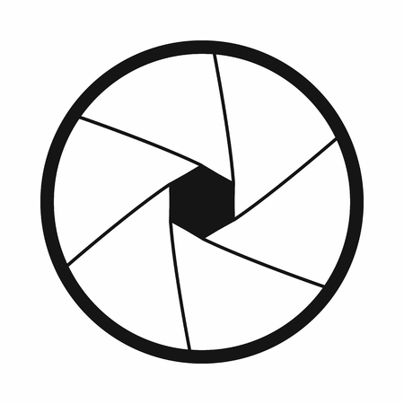 len: Camera shutter aperture icon in simple style on a white background Illustration
