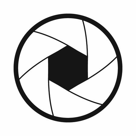 Kamera Verschlussöffnung Symbol in einfachen Stil auf einem weißen Hintergrund
