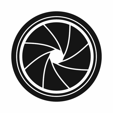 shutter aperture: Camera shutter aperture icon in simple style on a white background Illustration