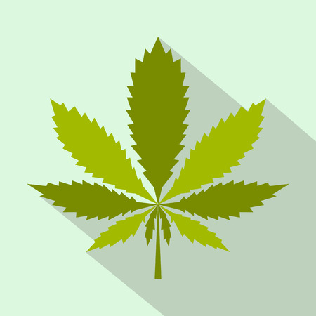canabis: Marijuana leaf icon in flat style on a green background Illustration