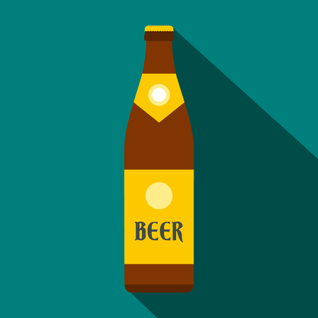 unopened: Beer bottle icon in flat style on a blue background Illustration