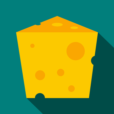 hard crust: Piece of cheese icon in flat style on a blue background Illustration