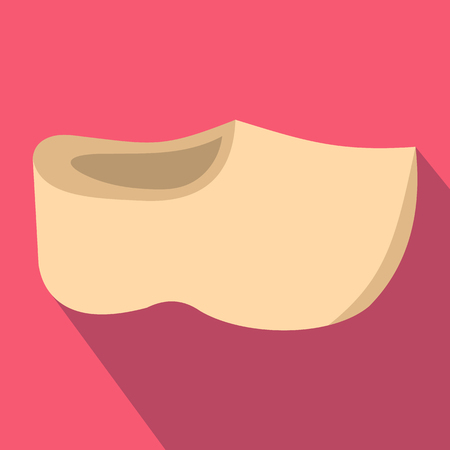 wooden shoes: Wooden shoes icon in flat style on a pink background